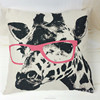 Hot sale Pink glasses deer chair sofa cotton/linen cartoon digital printing outdoor cushion cover wholesale