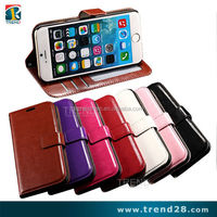mobile phone accessory hot selling wallet pu leather case for iphone 6