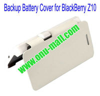 Hot-selling 2000mAh Power Front Flip Leather Cover Back Case External Battery for BlackBerry Z10(White)