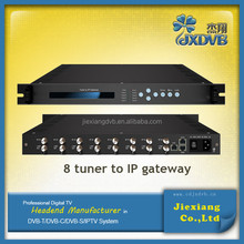 8 tuners (ASI) into TS DVB to IP Gateway/IPTV Channel DVB Receiver