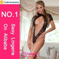 Hot sale in market floral lace teddy low plunge keyhole in front adult mature women sexy net stockings open crotch lingerie