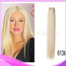 Free shipping Blonde Color 613 Straight Peruvian Virgin Hair Blonde Straight Hair,