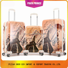 Eiffel Tower abs pc printed travel wheels luggage bags alibaba china