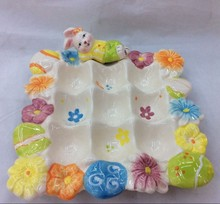 stock ceramic squar shape easter rabbit plate with egg cup