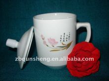 print logo, bone china, ceramic cup with lid