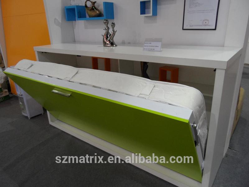 De la pared de la cama escritorio moderna cama de almacenamiento mesa plegable de madera camas - Cama plegable escritorio ...