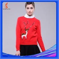 Pullover, Winter, Adults, Reindeer Sweater, Computer Knitted Sweater, Sequin Sweater