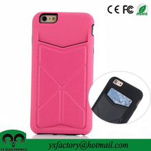 proveedor china girls credit card mobile case for iphone 6 phone card holder with kickstand