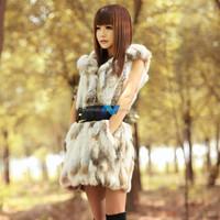 New Woman Real Fur Vest Women Hooded Fur Winter Jacket