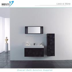 2015 new design black color with flower printing finish bathroom vanity
