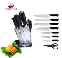 8pcs multifunctional pakka wood handle kitchen knife cutlery scissors in acrylic stand