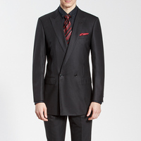 Double-breasted Black Premium Two-Piece Suit