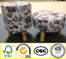 wholesale home furniture new design cheap fabric round footstool child small wood stool