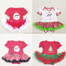 Wholesale new style children clothing baby girl cotton Christmas new year dress romper