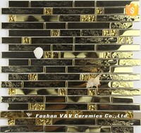 Golden Glossy Metal Mix Glass Mosaic With Beautiful Dragon Pattern