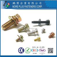 Made in Taiwan Phillips Pozi Torx Indent Hex Washer Pan Head Screws and Flat Spring Double Washers Assembled SEMS Screws