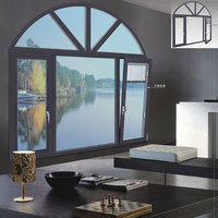 Factory Custom Aluminum Doors and Windows, Modern Euro Arched Top Design Horizontal Pivoting Window