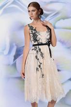 6138 apricot color scoop ribbon tea length skirt chiffon lace cocktail dress sleeveless