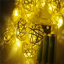 3 Meter Battery Powered Rattan Ball Fairy Light String Clear Wire LED Warm White