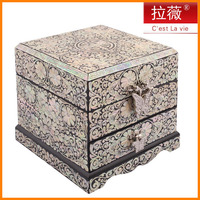 Lawei jewelry box full of cultural heritage lacquerware inlaid with mother shell inlaid mother of pearl jewelry box drawer shell