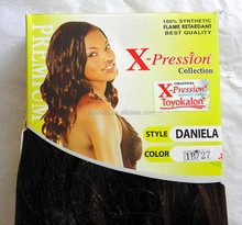 """Black high-temperature wire wig hair shade Bounce 20 """"160 g / bag factory direct large favorably xpression synthetic hair"""
