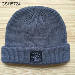 Acrylic 6 Panel knit beanie ribbed knitted pattern