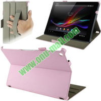 for Sony Xperia Tablet Z Litchi Texture Leather Case with Holder and Armband (White)