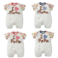 Clothing Free Shipping 0-12Months Baby Cloths Cotton Baby Summer I Love Papa Mama