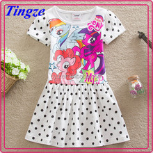The new arrivals my little pony printed dress cotton short skirts for girls short sleeve dress with dot