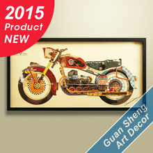 Factory antique motorcycle 3D paper wall home art decor