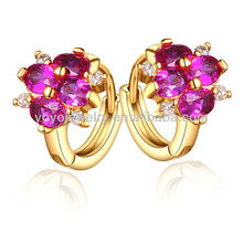 Fashionable design attractive ruby earring flower shape 18k rose golden earring