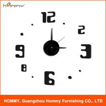 Decorativo reloj diy etiqueta, número de promoción reloj de pared 3D para la decoración casera