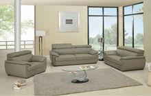 Modern Living Room Genuine Leather Sofa Set 4571 Gray