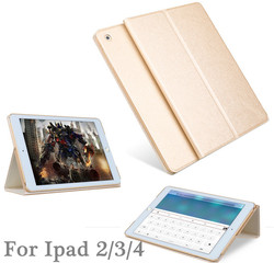 Fashion Champagne color stand leather case for ipad air 2, for ipad air 2 leather case
