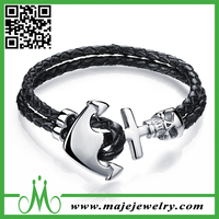 Anchor design leather bracelets slide metal charms low price