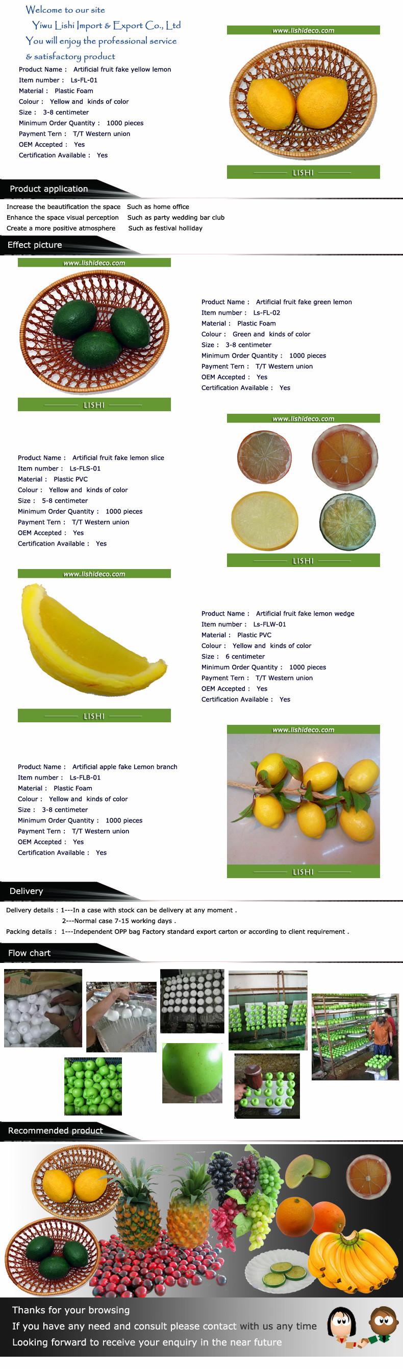 Artificiais falsificadas decorativas plástico lemon fruit
