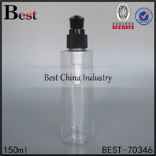150ml clear plastic bottle, plastic bottle black pump, shampoo cosmetic packaging