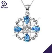 Good souvenir blue stone flower custom silver pendant