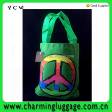 Canvas Rainbow Peace Symbol Hippie Vintage Retro GREEN Tote Lunch carry bag promotional shopping bag
