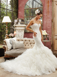 Famous Designer Sweetheart Multi Layeres Organza Ruffles Lace Bridal Gowns Sexy Backless Mermaid Maternity Wedding Dresses