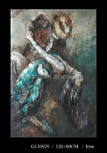 Handmade Abstract Couple Dancing, decorative metal oil painting, dancing people metal craft painting