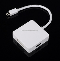 3 in 1 mini displayport to HDMI+ VGA +DVI DP Adapter thunderbolt cable for macbook