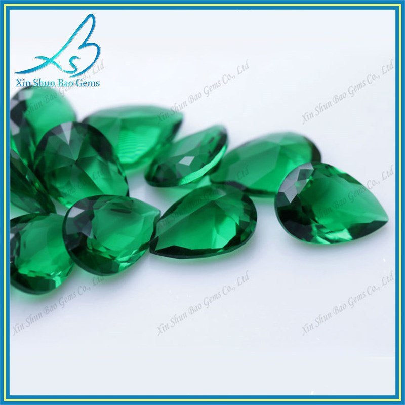 exporting goods fresh green color pear shape glass gems