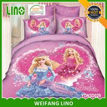 2015 newest barbie 3d european baby bedding set kids cartoon bedding set