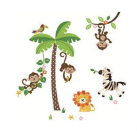 Jungle Monkeys and Tree Giant Baby Nursery Wall Sticker Decals for Boys and Girls