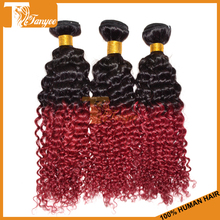 Wholesale 6A grade deep wave 100% indian virgin human two tone hair extension