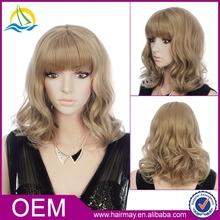 Blonde hairstyle european bohemian fan curl hair full lace wig