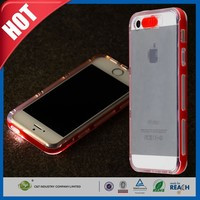 C&T Incoming Call LED Blink/Flash Hybrid Case Cover, Clear Soft TPU Back Cover with Hard PC Bumper Case for Apple iPhone 5