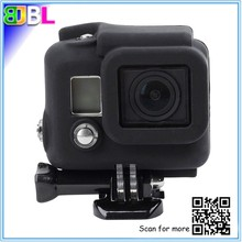 Rugged shockproof silicone cover case for Go Pro hero4 camera, soft housing protective case cover skin for Go Pro hero3+