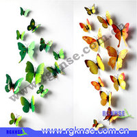 Many types available home decor 3d butterfly refrigerator sticker magnetic iron wall sticker